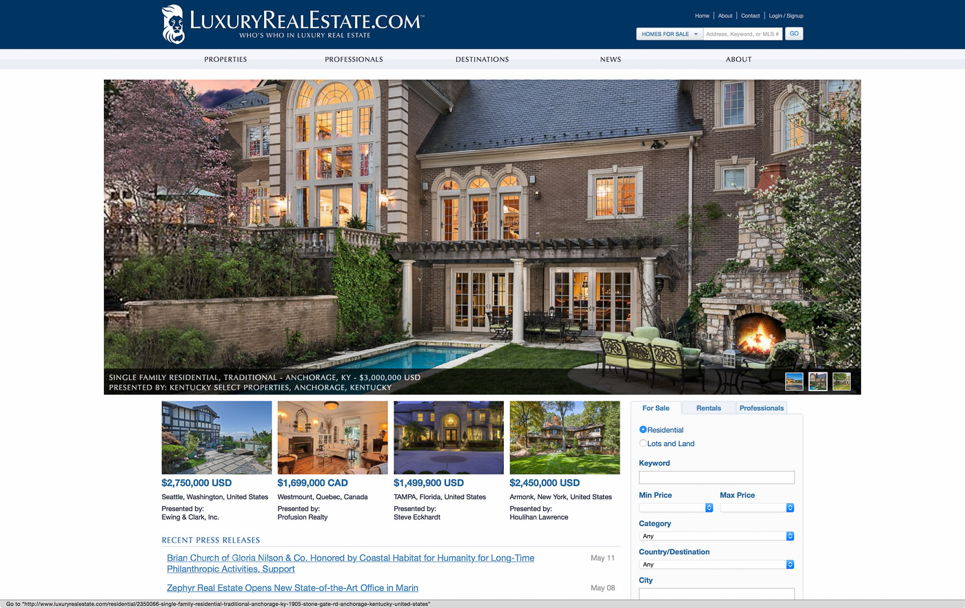 RealTourCast featured on luxuryrealestate.com front page